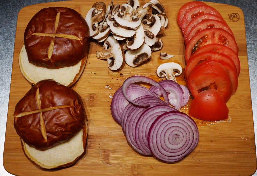 Home Chef Mushroom and Swiss Beef Burger