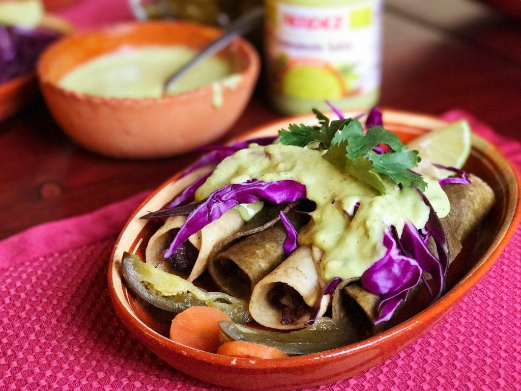 Taquitos de Lengua with Nopal Corn Tortillas