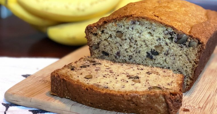 Simple Banana Bread Recipe with Walnuts & Chocolate Chips